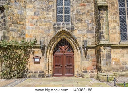 Door of the reformed church in Schuttorf Germany