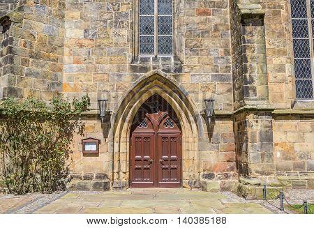 Door of the reformed church in Schuttorf Germany