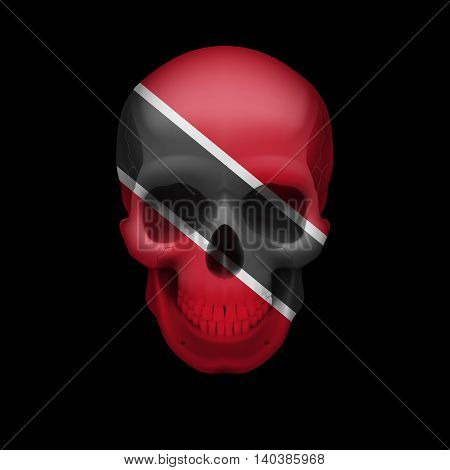 Human skull with flag of Trinidad and Tobago. Threat to national security war or dying out