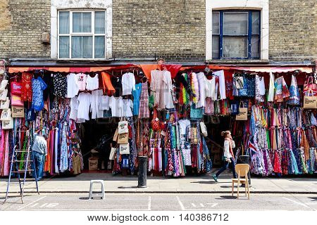 London UK - July 13 2016 - Clothes Shop on Portobello Road in Notting Hill