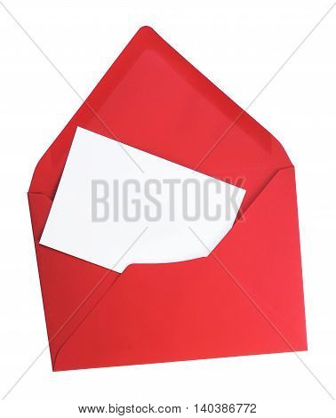 Red letter and blank card, isolated on White background with copy space.
