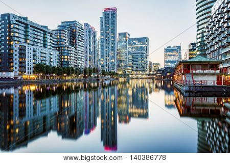 Canary Wharf In London At Evening
