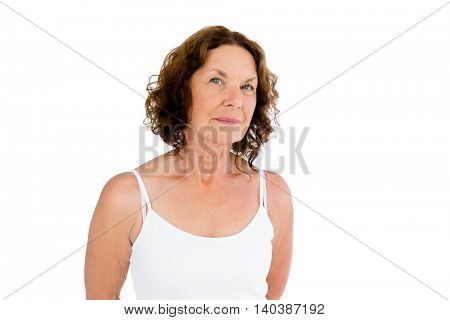 Portrait of brunette woman against white background