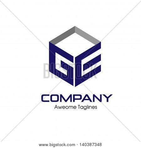 GE letter with box 3d style Business design template logo icon