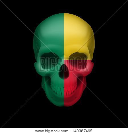 Human skull with flag of Benin. Threat to national security war or dying out