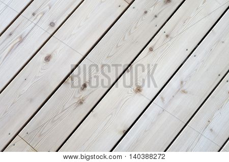 Section of a new terrace floor built of wooden planks.