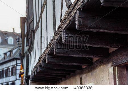 Half-timbered alsatian building in Petite France quarter, Strasbourg, France