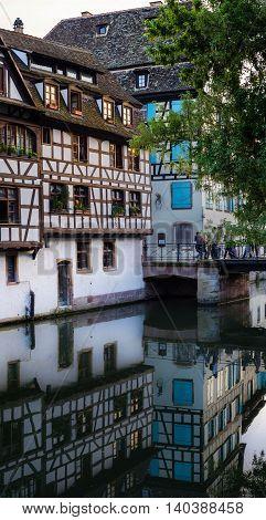 Tiny alsatian houses on the Ill river in Petite France quarter, Strasbourg, France