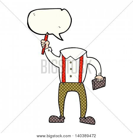 freehand drawn comic book speech bubble cartoon headless body with notepad and pen (add own photos)