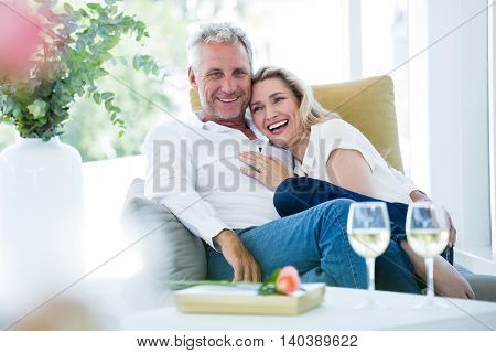 Happy romantic mature couple sitting on armchair at home