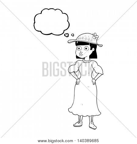 freehand drawn thought bubble cartoon woman in sensible dress