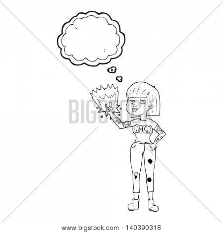 freehand drawn thought bubble cartoon rock girl