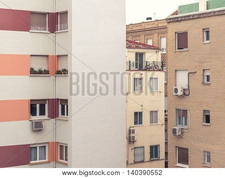Modern City Living Block Buildings With Windows, No Sky Seen Picture