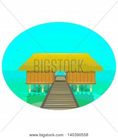 vector colorful illustration of tropical house on the water