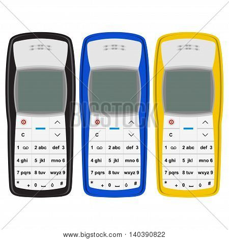 Vector set of the legendary mobile phone. Retro cell phone. Most popular cell phone in black blue and yellow colors.