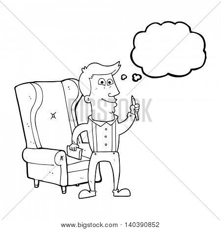 freehand drawn thought bubble cartoon man with notebook and pen