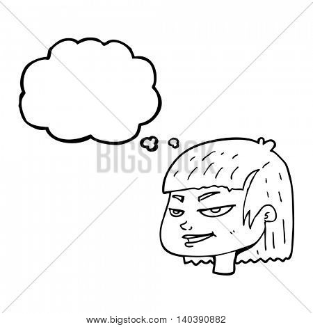 freehand drawn thought bubble cartoon mean looking girl