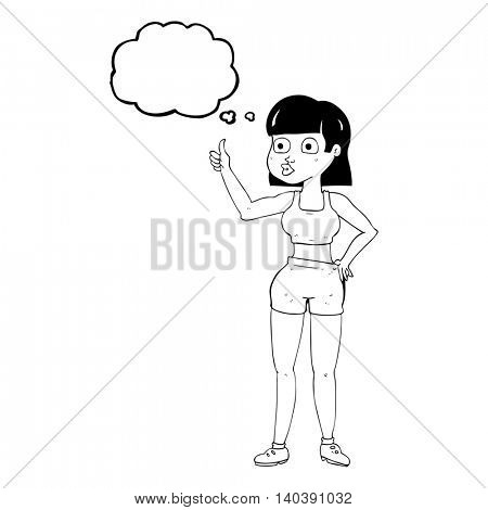freehand drawn thought bubble cartoon gym woman