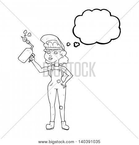freehand drawn thought bubble cartoon woman welding