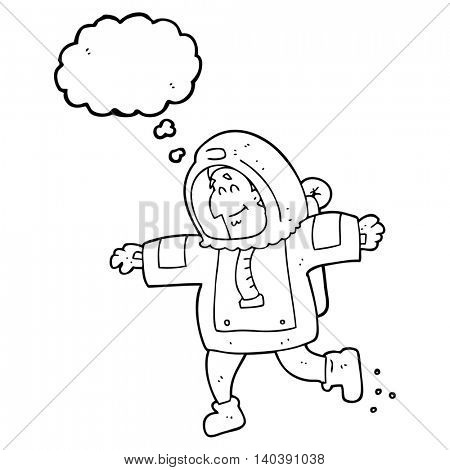 freehand drawn thought bubble cartoon astronaut