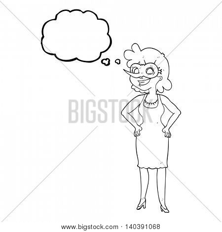 freehand drawn thought bubble cartoon woman wearing mask