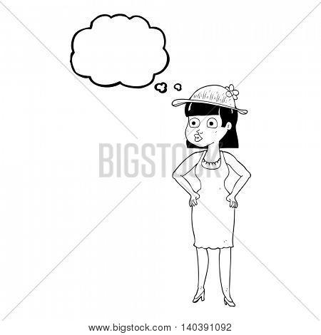 freehand drawn thought bubble cartoon woman wearing sun hat