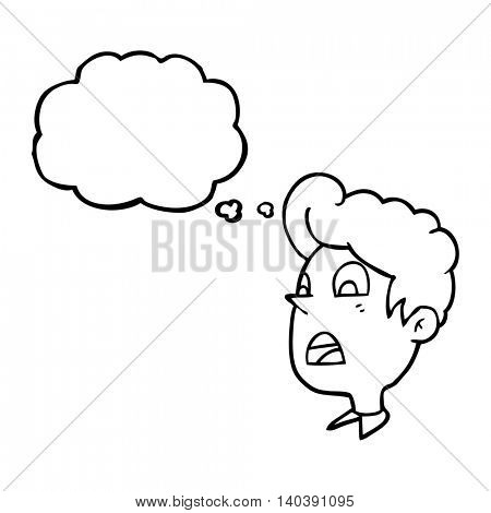 freehand drawn thought bubble cartoon shocked man