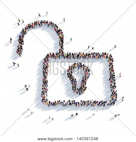 Large and creative group of people gathered together in the shape of a unlock . 3D illustration, isolated against a white background. 3D-rendering.
