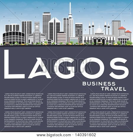 Lagos Skyline with Gray Buildings, Blue Sky and Copy Space. Vector Illustration. Business Travel and Tourism Concept with Modern Buildings. Image for Presentation Banner Placard and Web Site.