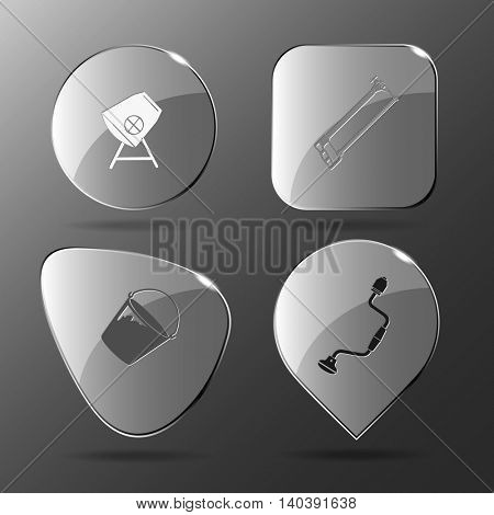 4 images: concrete mixer, hacksaw, bucket, hand drill. Industrial tools set. Glass buttons. Vector illustration icon.
