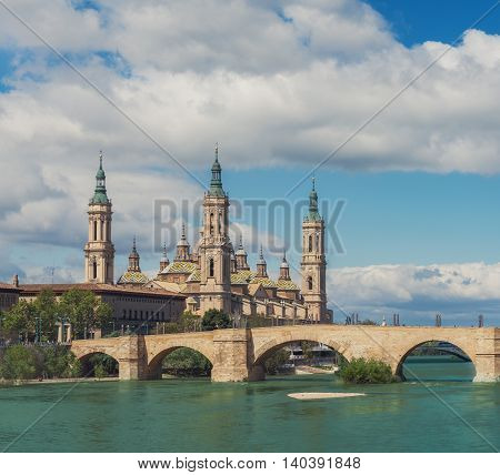 Basilica Our Lady Pillar In Zaragoza With The Bridge And River Daytime Summer Sunny View Picture