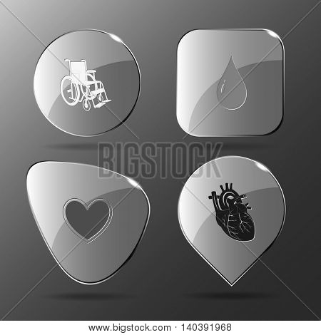4 images: invalid chair, drop, heart. Medical set. Glass buttons. Vector illustration icon.