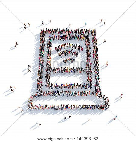 Large and creative group of people gathered together in the shape of Wi fi. 3D illustration, isolated against a white background. 3D-rendering.