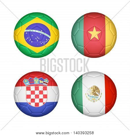 3D illustration of Soccer ball mapping with 4 country flags set