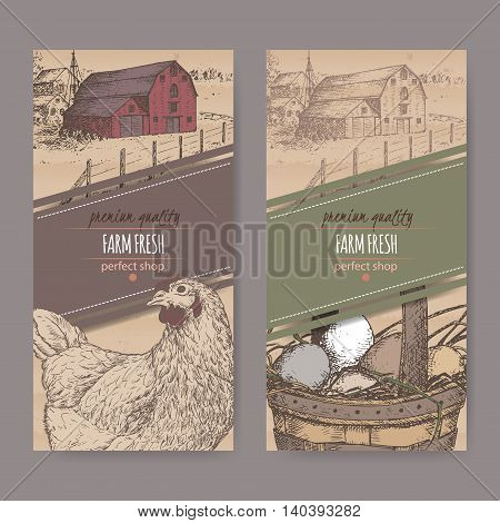 Set of two color farm fresh labels with farmhouse, chicken and eggs in wicker basket on cardboard background. Includes hand drawn elements.