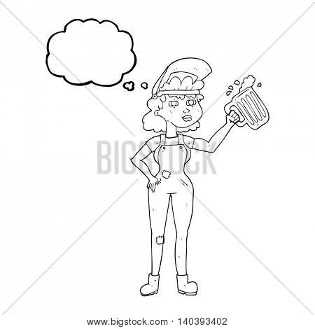 freehand drawn thought bubble cartoon hard working woman with beer