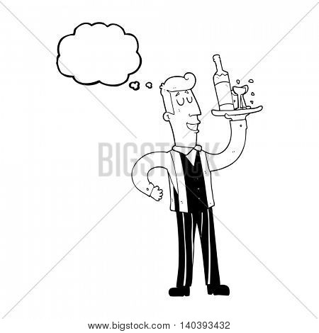 freehand drawn thought bubble cartoon waiter