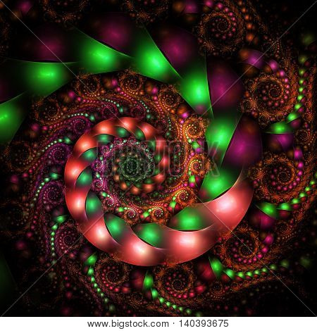 Abstract fantasy red green brown and purple swirly ornament on black background. Neon colors. Creative fractal design for posters or t-shirts. Digital art. 3D rendering.