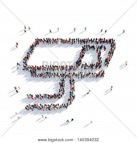 Large and creative group of people gathered together in the shape of camera surveillance. 3D illustration, isolated against a white background. 3D-rendering.