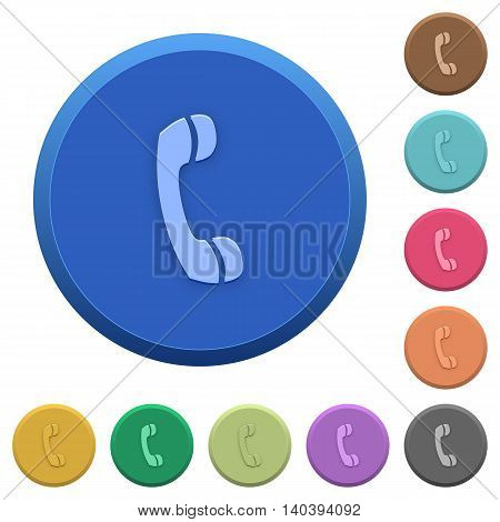Set of round color embossed call buttons