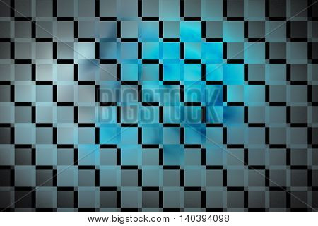 Abstract glowing geometric background. Fantasy fractal texture in blue grey and black colors. Digital art. 3D rendering.