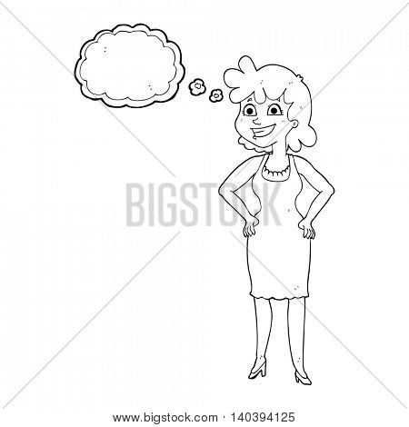freehand drawn thought bubble cartoon happy woman wearing dress