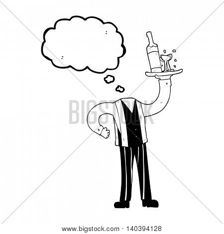 freehand drawn thought bubble cartoon headless waiter (add own photos)