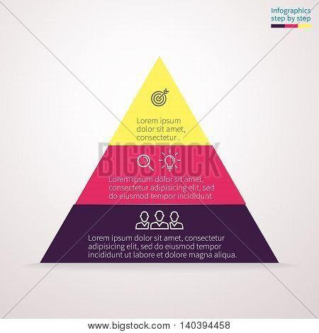 Pyramid for infographics with numbers. Chart, diagram with 3 steps, options. Vector design element.
