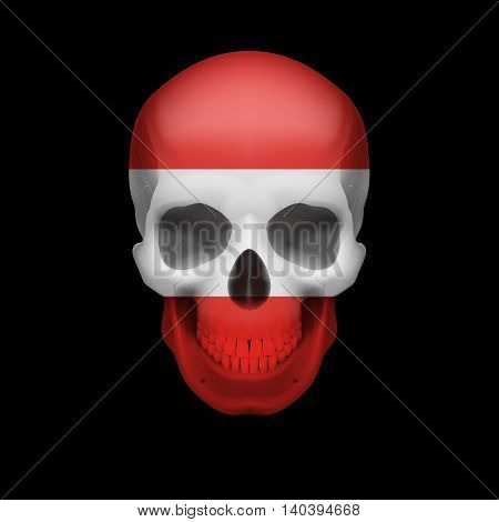 Human skull with flag of Austria. Threat to national security war or dying out