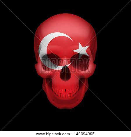Human skull with flag of Turkey. Threat to national security war or dying out