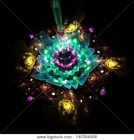 Abstract glowing flowers on black background. Fantasy composition in yellow green blue and pink colors. Fractal design for posters wallpapers or t-shirts. Digital art. 3D rendering.