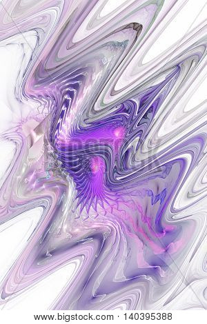 Color waves on white background. Abstract pink purple and grey fractal texture. Fantasy design for greeting cards posters wallpapers or t-shirts. Digital art. 3D rendering.