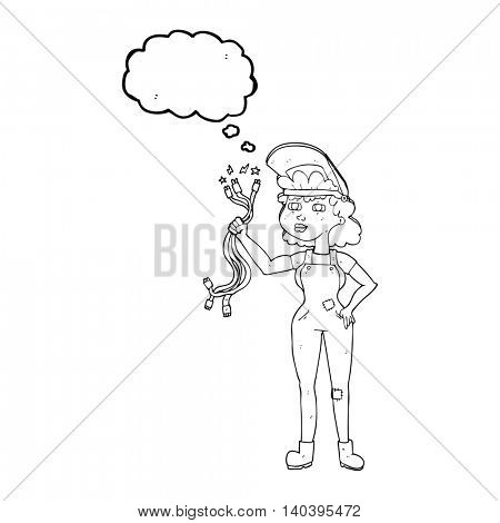 freehand drawn thought bubble cartoon electrician woman