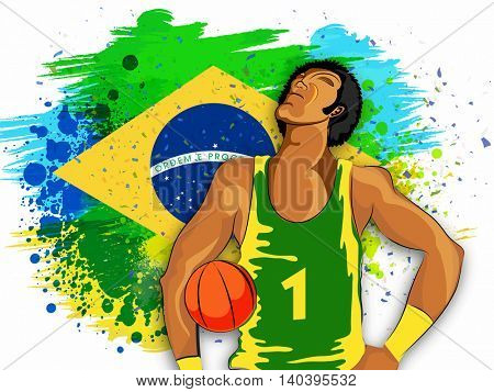 Creative illustration of a Basketball Player on Brazilian Flag colors background for Sports concept.